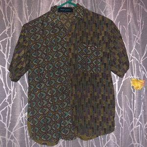 Duo pattern button down shirt